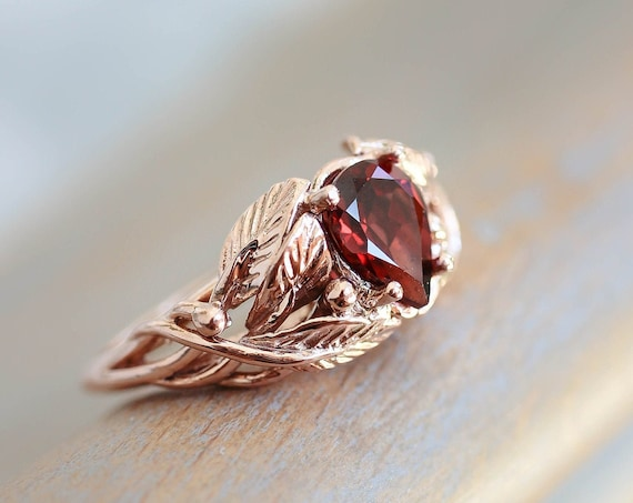 Rose gold garnet engagement ring, pear shaped ring, leaves ring, branch ring, wedding ring for woman, 14K gold ring, nature engagement ring