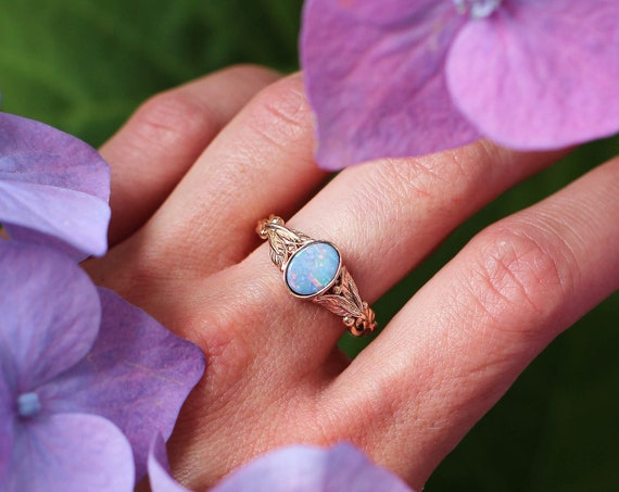 Rose gold blue opal engagement ring, leaves ring, unique wedding ring for woman, oval opal ring, genuine opal, nature jewelry gift
