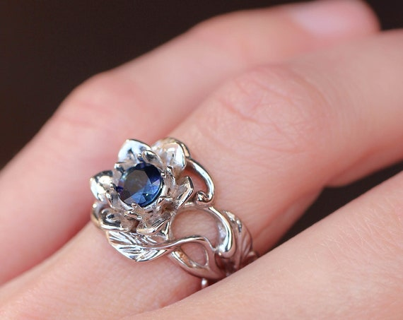 Sapphire engagement ring, white gold flower ring, wide band, art nouveau ring, ring for woman, floral jewelry, delicate ring, jewelry gift