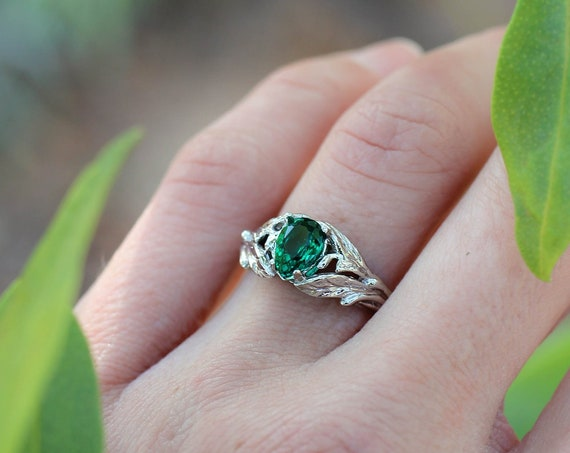 Pear shaped engagement ring, white gold emerald ring, leaves ring, nature engagement ring, lab emerald ring, unique wedding ring for women