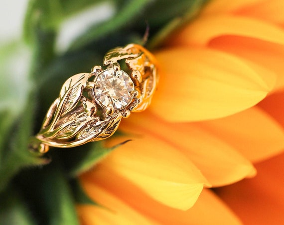 Yellow lab diamond engagement ring, yellow gold wedding band for woman, cubic zirconia ring, leaves ring, nature jewelry, unique ring