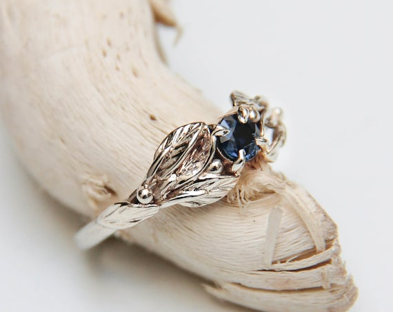 White gold engagement ring with dark blue sapphire, leaf and branch ring for nature lover, delicate nature inspired promise or wedding ring