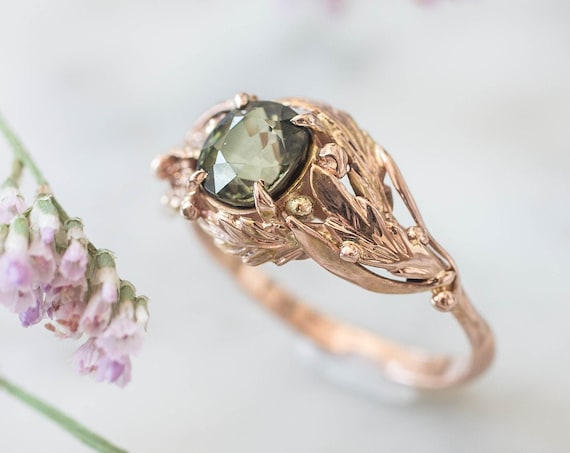 One of a kind engagement ring, green tourmaline ring, 14K rose gold ring, nature ring for woman, unique engagement ring, leaves ring