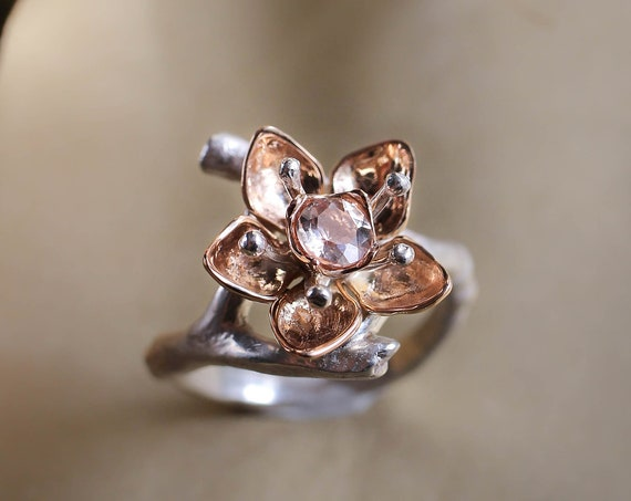 Cherry blossom ring with morganite, rose gold and silver, unique engagement ring, flower ring for woman, jewelry gift, romantic proposal