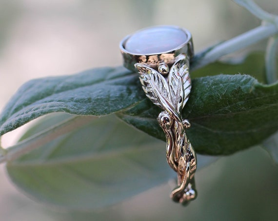 White gold opal engagement ring, leaves ring, unique wedding ring for woman, branch and leaf ring, genuine opal, handmade nature jewelry