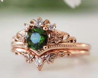 Nature engagement ring set, green tourmaline ring, bridal set with diamonds, rose gold wedding band, leaves ring, gift for her, ivy ring
