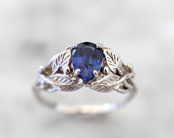 Sapphire engagement ring, white gold ring for woman, leaves ring, nature wedding ring, pear cut gemstone, teardrop ring, vine ring, 14K, 18K