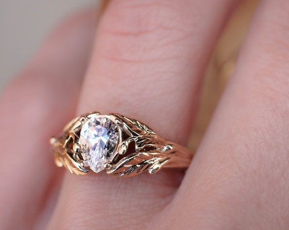 Cubic zirconia engagement ring, leaves ring, yellow gold ring for woman, unique nature ring, fake diamond leaf ring, synthetic diamond ring