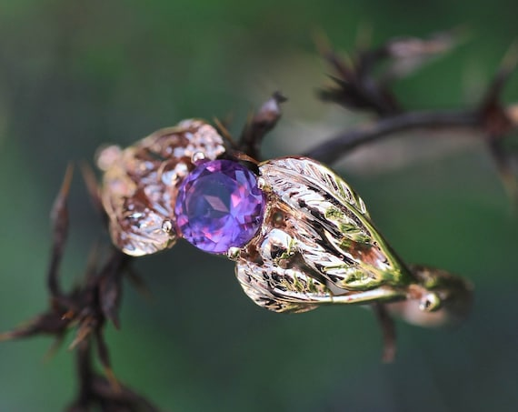 Leaves engagement ring, rose gold amethyst ring, leaf and branch ring for her, nature inspired wedding ring, delicate ring for women