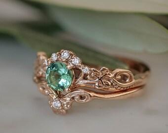 Clover leaf ring, rose gold bridal ring set, mint tourmaline ring, nature engagement ring, leaf engagement ring, leaves ring, stacking rings