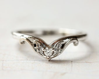 Stacking wedding band, nature inspired wedding ring, solid gold ring for woman, 14K white gold band, leaves ring, moissanite wedding ring