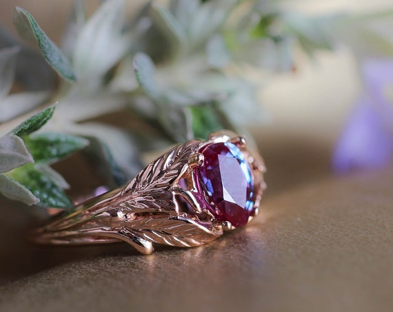Alexandrite engagement ring, rose gold nature ring, leaves ring for woman, unique engagement ring, lab alexandrite, teardrop gemstone ring