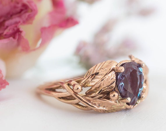 Rose gold alexandrite engagement ring, wedding ring for woman, leaves ring, nature jewelry, leaf ring, teardrop ring, colour change, 14K