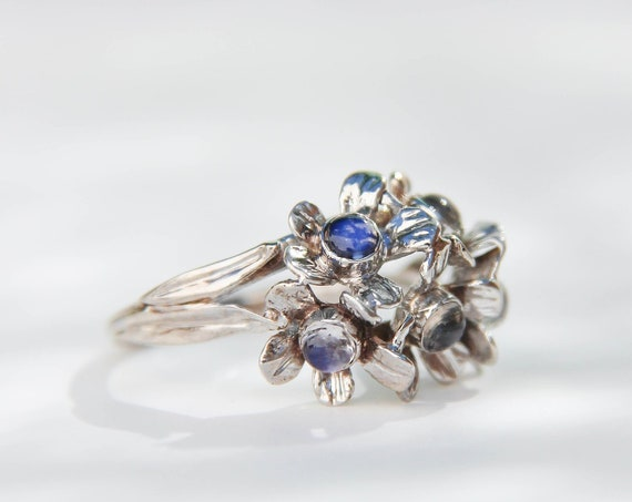 White gold and blue moonstone engagement ring with forget me not flowers, romantic proposal ring for her, unique floral ring for woman