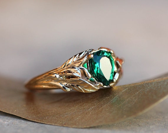 Emerald engagement ring, 14K yellow gold leaves ring, leaf ring for woman, unique engagement ring, synthetic emerald ring, teardrop ring