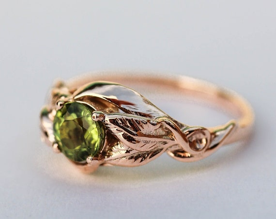 Rose gold peridot engagement ring, nature proposal ring, leaves ring, unique ring for women, leaf engagement jewelry, August birthstone