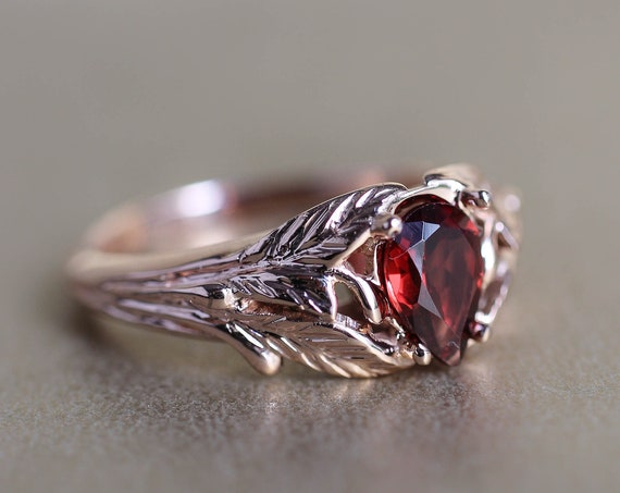 Garnet engagement ring, rose gold leaves ring, nature ring for woman, unique engagement ring, gift for wife, teardrop garnet ring
