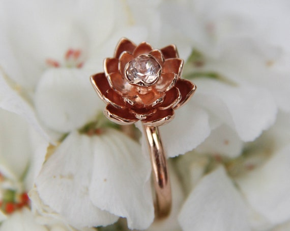 Rose gold morganite ring, lotus flower engagement ring, unique proposal ring, delicate gold flower ring, nature inspired floral jewelry