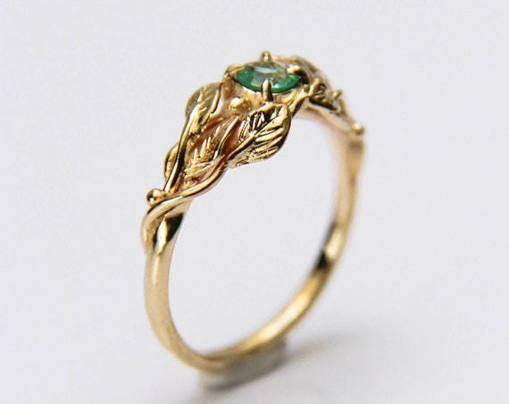 Ivy engagement ring with emerald, 14K yellow gold leaves ring for woman, delicate branch ring, nature inspired wedding ring, unique proposal