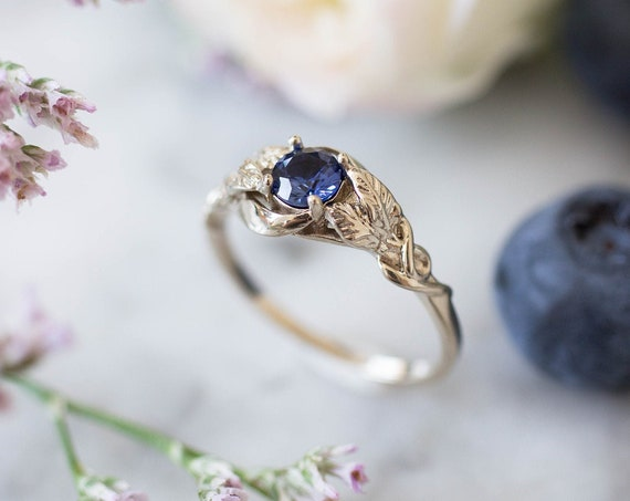 White gold sapphire engagement ring, nature inspired ring, leaves ring, leaf ring for woman, unique ring, royal blue sapphire ring, 14K, 18K
