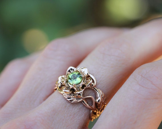 Rose gold peridot ring, unique engagement ring, flower ring for woman, wide band, art nouveau ring, floral jewelry, jewelry gift, proposal