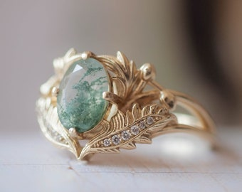 Moss agate engagement ring, nature inspired ring, leaves ring, moss agate and diamonds ring, gold leaf ring, 14K 18K, leaf engagement ring