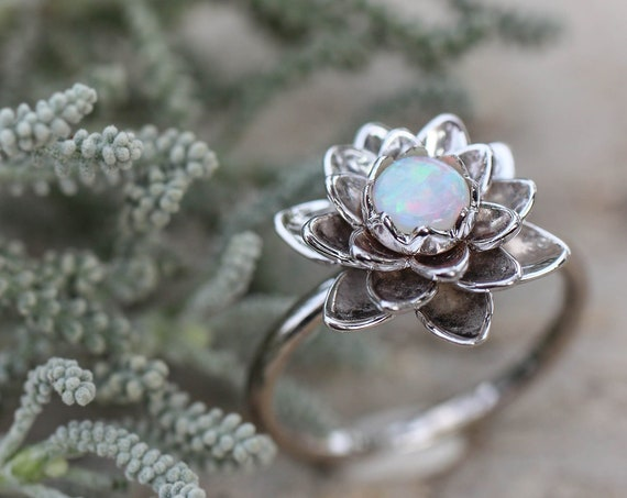 White gold flower engagement ring, australian opal ring, delicate proposal ring, lotus ring, gold ring for woman, floral jewelry, white opal