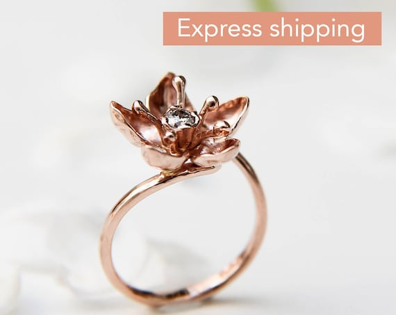 Apple blossom rose gold ring for engagement, Unique diamond ring, Flower women ring, Proposal delicate ring, Romantic love ring gift