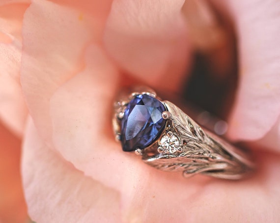 Sapphire and diamonds engagement ring, white gold leaf ring, leaves ring for woman, unique engagement ring, teardrop ring, nature jewelry