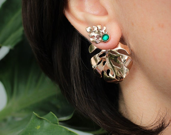 Gold monstera ear jackets with emerald, rose gold leaves earrings, monstera jewelry, emerald studs, unusual earrings, jewelry gift for woman