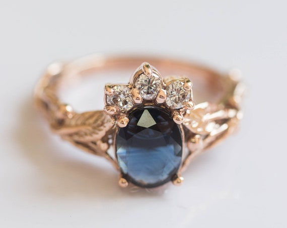 Blue sapphire and diamonds engagement ring, rose gold leaf ring, leaves ring for woman, unique engagement ring, crown ring, real diamonds