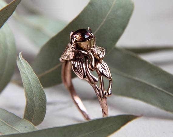 Rose gold custom engagement ring, Pink tourmaline and leaves ring, Nature gold jewelry, Unique promise or anniversary ring, Proposal gift