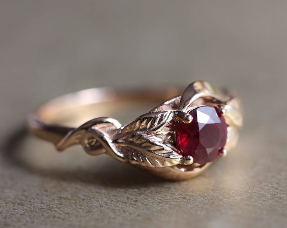 Genuine ruby engagement ring, rose gold leaf ring for woman, leaves ring, wedding gold ring, unique nature engagement ring, July birthstone