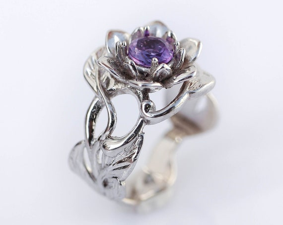 Amethyst flower engagement ring, white gold engagement ring, wide band, art nouveau ring, ring for woman, floral jewelry, romantic gift