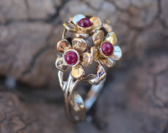 Three flowers engagement ring with rubies, gold flower ring, two tone gold ring for woman, jewelry gift, unique ruby ring, nature ring