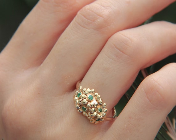 Unique flower engagement ring in yellow gold with emeralds, solid 14K gold proposal ring, romantic floral jewelry, delicate ring for woman