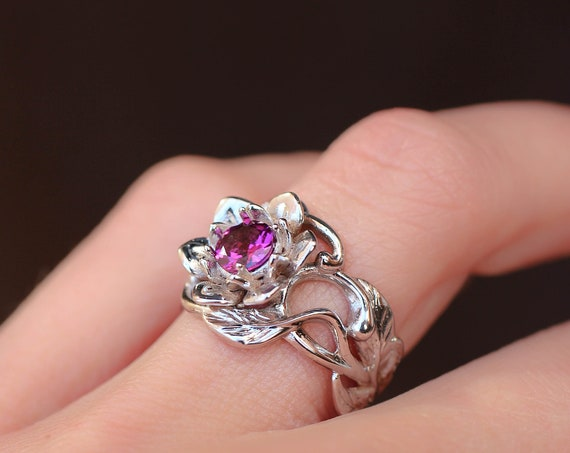 White gold flower engagement ring with rhodolite garnet, unique engagement ring, wide band, lotus ring, gold ring for woman, floral jewelry