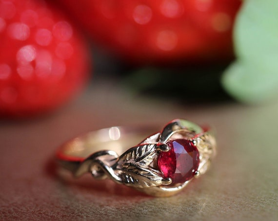 Ruby engagement leaf ring, rose gold ring for woman, leaves ring, nature inspired wedding ring, unique engagement ring, July birthstone