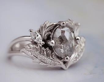 Salt & Pepper Diamond Ring, Alternative Engagement Ring, Nature Inspired Ring, Leaf Engagement Ring, Leaves Ring, Oval Grey Engagement Ring