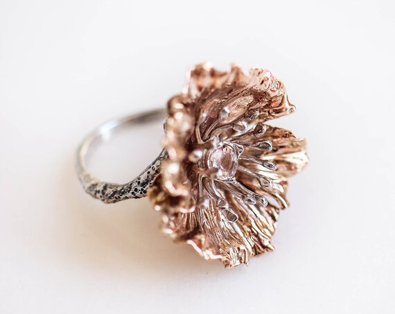 Large poppy flower ring with morganite, gold and silver statement ring, unique jewelry gift for woman, mixed metal ring, morganite ring