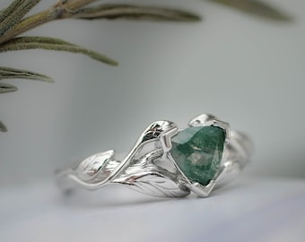 Moss agate engagement ring, white gold twig ring, trillion cut ring, nature ring, leaf engagement ring, branch engagement ring, leaves ring