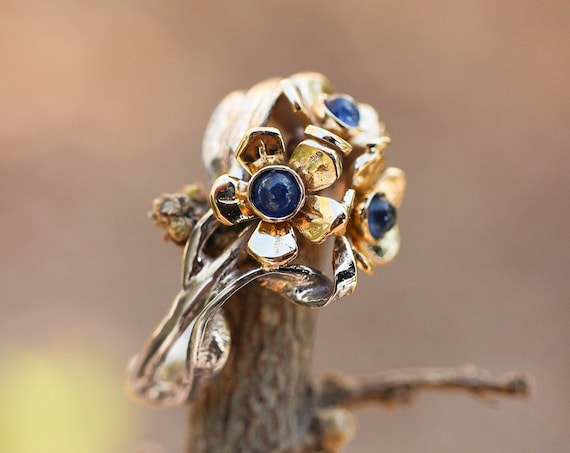 Two tone gold engagement ring with sapphire, gold flower ring, forget me not ring for woman, jewelry gift, unique ruby ring, nature ring