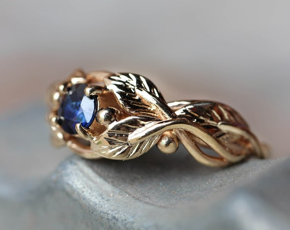 Sapphire engagement ring, branch ring, 14K yellow gold, wedding ring, leaves ring, proposal ring, blue sapphire, unique engagement, leaf