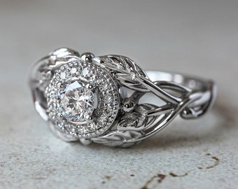 Leaf engagement ring with diamond halo, natural diamond ring, white gold band, nature ring, leaves ring, branch engagement ring, for woman