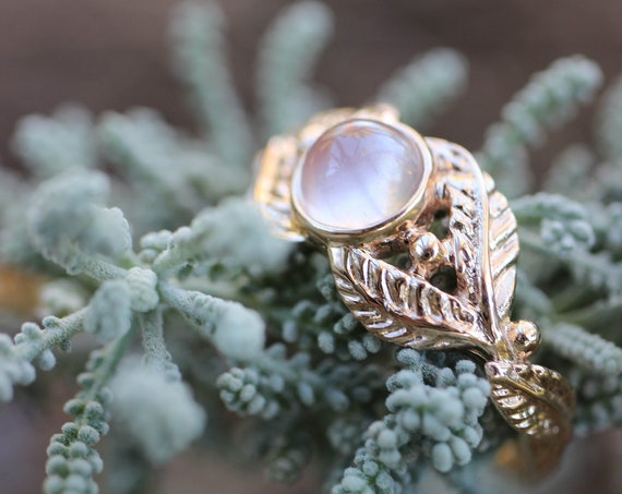 Rose gold engagement ring, rose quartz branch ring, leaves ring for woman, rose quartz wedding ring, woodland ring, rose gold leaf ring