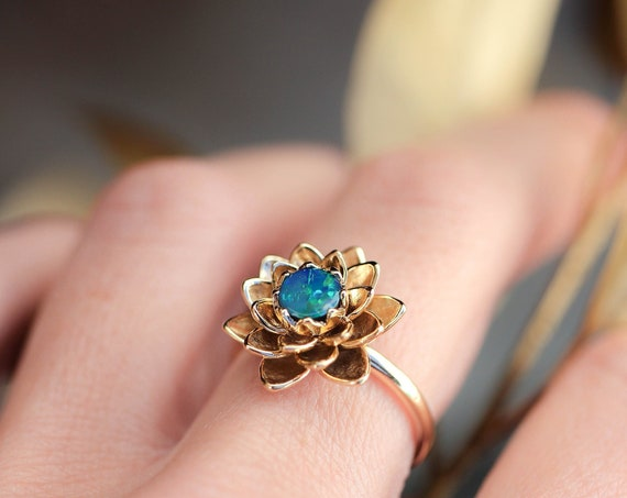 Rose gold lotus ring with blue opal, flower engagement ring, fire opal ring, delicate proposal ring, gold ring for woman, floral jewelry