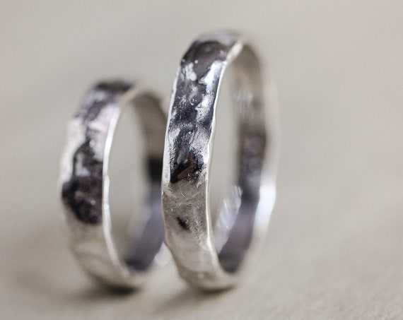 White gold wedding band set, rough wedding ring, textured band, rustic rings, alternative rings for man and woman, unique wedding band