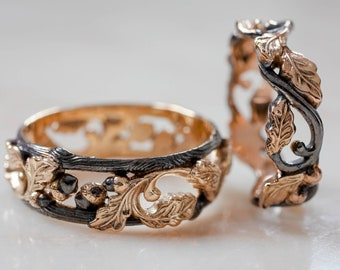 Unique wedding band set for couple, oak ring, wedding rings for woman and man, branch ring, leaves ring, nature jewelry, black and gold ring