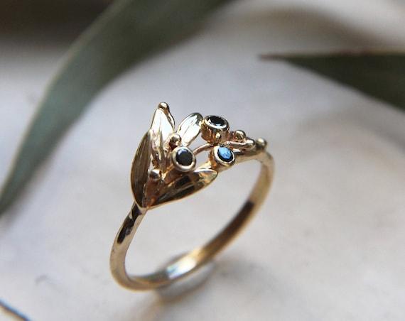 Black diamond ring, olive branch ring, unique diamond ring, gold ring, engagement ring, proposal ring, romantic ring, leaves ring, botanical