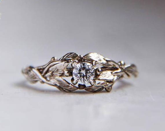 White gold engagement ring, 18K gold ring, custom engagement ring, diamond ring, leaves ring, nature ring, gold ring, unique engagement ring